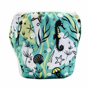 Reusable Swim Nappy Diaper Newborn Baby Toddler Swimming Unisex Boy Girl DeepSea