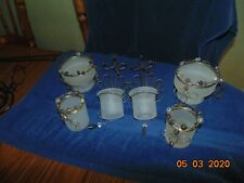 6 Partylite Beaded Motion wall Candle Holder Sconce Glass White frosted lot