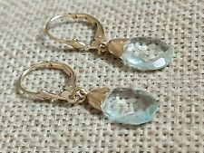 🎁Vtg NATURAL Aquamarine solid 9ct gold continental drop dangle earrings
