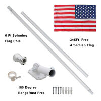 6ft Flag Pole Tangle Free Spinning Outdoor  W/ 1 Free US American Flag Kit White