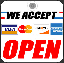 Two Visa Master American Exp Card Credit Cards Accept Open Store Removable Signs