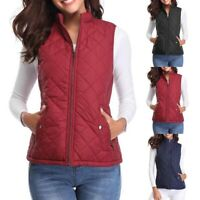 Women's Quilted Padding Vest Jacket Lightweight Quilted Top Autumn Winter Well