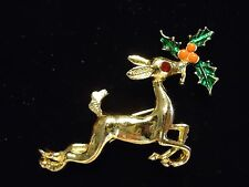 Vintage Rudolph Reindeer Holly Rhinestone Enamel Christmas Holiday Brooch Pin