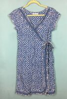 White Stuff Blue Embroidered Scallop Cotton Linen Blend Wrap Look Dress 8 - B10