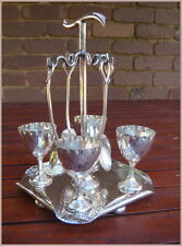 Vintage Hardy Brothers Silverplate Egg Cup Set with Stand + Spoons x4