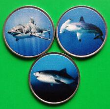 Banaba Island 3 x 2 Dollars Set 2020 UNC Shark Set - Hammerhead - Great White