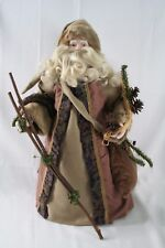 "Standing Santa Figure 23"" Greenery Wooden Stick & Tote Bag Faux Fur Brown Robe"
