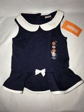 Gymboree Baby Girl Dress Solid Navy White Collar SZ 12-18 Months NWT 100% Cotton
