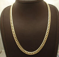 7mm Semi-Solid Tight Cuban Chain Necklace Box Clasp Lock Real 10K Yellow Gold