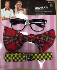 Nerd Costume Kit Set Halloween Glasses Fancy Dress  Retro Braces Bow Tie Party