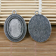 10pcs tibetan silver textured rim oval 25x18mm cabochon setting EF2173