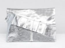 Elégante Pochette Asos Véritable cuir argenté 25X30X1 cm NEUVE+ETIQUETTE