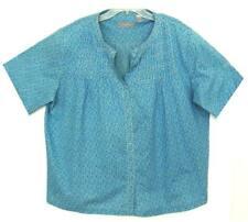 NWOT LIZ CLAIBORNE 100% COTTON BLUE PRINT SHORT SLEEVE BLOUSE PLUS SIZE 2X