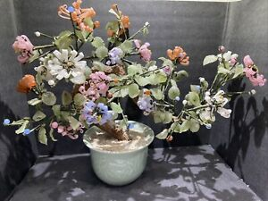 Vintage Chinese Glass Jade Pink, Coral Cherry Tree Bonsai Asian Mineral Stone