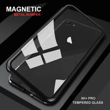 For iPhone 11 PRO MAX 8 Case Magnetic Aluminum Metal Bumper Tempered Glass Cover