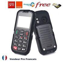 Téléphone Portable Enfant/Senior Robuste Etanche GSM Bluetooth Touche SOS Noir