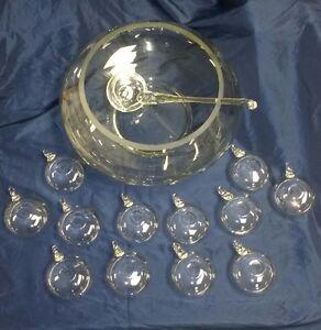 14 PC Hand Blown Crystal Moderno Riekes Crisa Punch Bowl Set w/Ladle *Vintage*