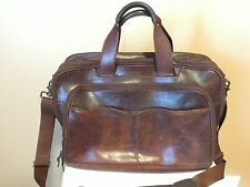 "HARTMANN LEATHER 18"" 2 COMPARTMENT CARRY-ON BRIEF CASE"