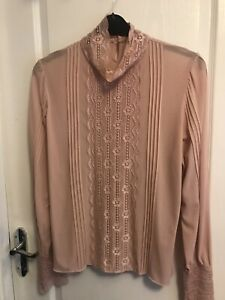 Per Una Size 18 Dusty Pink High necked long Sleeved Top