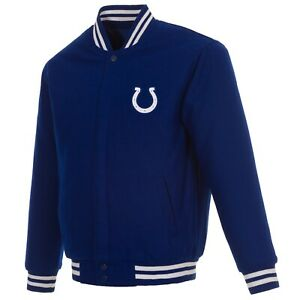 NFL Indianapolis Colts JH Design Wool Reversible Jacket Blue  2 Front Logos