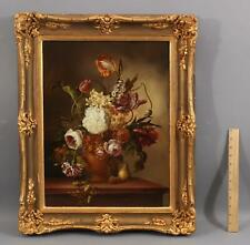 Antique Signed Flower & Fruit Still Style of 18thC Oil Painting, Gilt Frame, NR