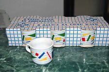 6 tazzine caffè senza piattini decoro geometrico colorato-coffe cups-tasses