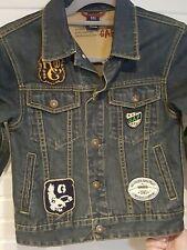 GAP Childrens Denim Jacket 8-9 Years Dark Blue Wash Patches Brand Logo