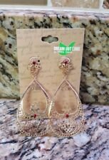 Earrings 1 Set Dangly Gold Color with Dark Red Wine Maroon Accents NEW