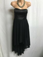 FOREVER NEW SIZE 10 BLACK STRAPLESS HIGH LOW DRESS