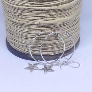 Sterling Silver Hoop Earrings with Smooth Sterling Silver Stars, Handmade