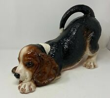 "Rare Vintage Townsends Ceramic Beagle Dog 17"" long life size Statue Signed -"