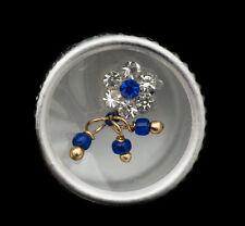 Bindi fleur bleu bijoux de peau front ht de gamme strass 13mm  ING E 2401