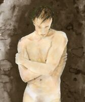 Painting, NUDE male, Cornwall II, 1/7/50 Watercolor Realism Signed FREE SHIP