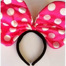** MOUSE EARS HOT PINK SPOTTY BOW HEADBAND CHILDRENS ADULT FANCY DRESS MINNIE NE