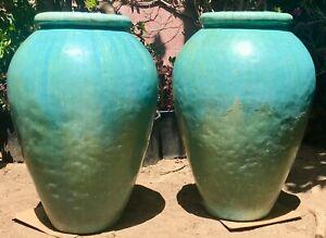 "Pair 32"" Mid-Century Giant Gladding McBean Vintage Turquoise Oil Jars"