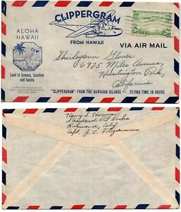 CLIIPERGRAM from Hawaii 1940 (Flying Boat) Advertisement Air Mail Cover  *RARE*