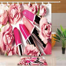 Lipstick Rose Love Bathroom Shower Curtain Waterproof Fabric 12
