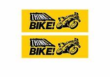 2 x Think Bike decal sticker Motorbike Scooter Motorcycle Warning