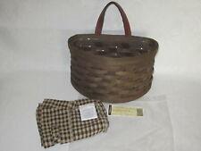Htf Longaberger 2006 Small Scalloped Pocket Basket Combo Dark Brown Khaki Check