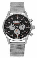 Superdry Mens Gents Regent Silver Black Wrist Watch SYG256SM