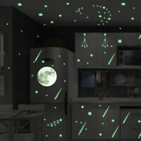 HK- DIY Glow in the Dark Star Moon Wall Stickers Luminous Decal Kids Room Decor