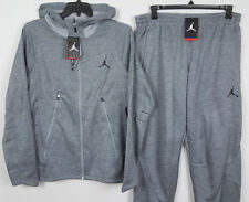 NIKE JORDAN FLIGHT THERMA-FIT SUIT HOODIE +PANTS GREY BLACK NWT (SIZE 4XL / 3XL)