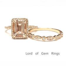 7x9mm Emerald Cut Morganite Engagement Wedding Diamond Ring Set 14K Rose Gold 5#