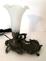 Vtg Tulip Trumpet Flower Glass Shade w/ trinket Jewelry tray Dish Lamp Boudoir