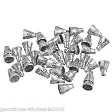 W09 60PCs Silver Tone Cone End Bead Caps 11*9mm
