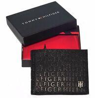 Men's Tommy Hilfiger Textured Leather Lite Black - Brown Tan Pocket Wallet