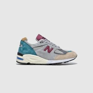New Balance Made in US 990v2 M990CP2 Grey Green Maroon Men's Sz 10.5