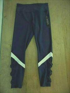 Vogo Athletica Women's Sport Yoga Pants Sz M Navy Sheer Criss Cross leg design