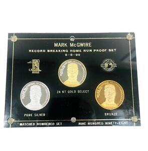 Mark McGwire 3 Coin Set (2) .999 1Troy Oz. Silver, Record Breaking Home Run 62