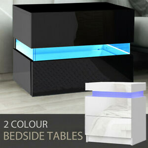 Bedside Table 2-Drawer Side Nightstand High Gloss Front Wood Cabinet w/ RGB LED